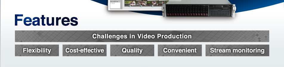 Features Challenges in Video Production Flexibility Cost-effective Quality Convenient Stream monitoring